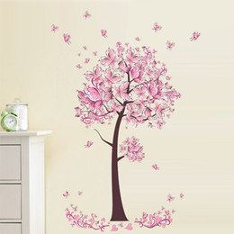 Wholesale Television Sofa Package - Pink Tree Flower Floral Butterflies Wall Stickers Decals Living Room Bedroom TV Sofa Background Decor Wall Decals Mural