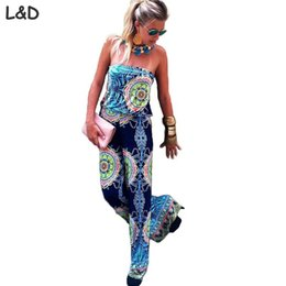 Wholesale Super Sexy Rompers - Wholesale- Summer Style One Piece Or Bodysuit 2017 Hot Chest Wrapped Super Sexy Halter Wide Leg Trousers Print Rompers Womens Jumpsuits