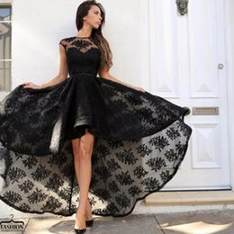Wholesale High Low Royal Blue Bling - New 2k17 High Low Full Lace Sheath Prom Dresses Black Crew Neck Short Cocktail Dress Bling Homecoming Gowns