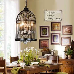 Wholesale Black Iron Crystal Chandelier - Loft Vintage American Rural creative chandelier clothing store restaurant iron pendant light crystal decorate birdcage pendant lamp