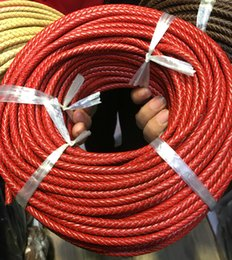 Wholesale Rose Strip - Red Braided Leather Bolo Cord Round Genuine Leather Strip For Necklace Bracelet Pink Rose 4 5 6mm 10meters lot