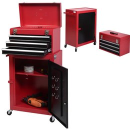 Wholesale Iron Cabinets - 2Pc Mini Tool Chest & Cabinet Storage Box Rolling Garage Toolbox Organizer Red