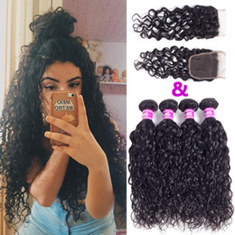 Wholesale Cambodian Baby Hair - Ushine Mink 4*4 Lace Frontal Closure with Bundles Brazilian Cambodian Virgin Hair Water Wave Human Hair Weaves and Closure with Baby Hair