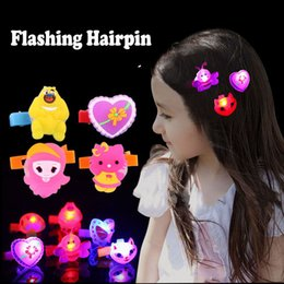 Wholesale Hair Decoration Clips - Fashional LED Cartoon Hairpin Colorful Flash hair clip Novelty Decoration for Halloween Christmas Party Festival Bar gifts DHL free shipping