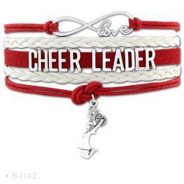 Wholesale Cheerleader Megaphone - (10 PCS Lot) Infinity Love Cheerleader Megaphone Cheer Coaches Mom Nana Charms Bracelets For Women White Blue Leather Bracelet
