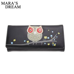 Wholesale Owl Phone - Mara's Dream New Fashion Owl Pattern Wallet Women PU Leather Wallets Coin Card Holder Long Purses Girls Lovely Cartoon Wallets