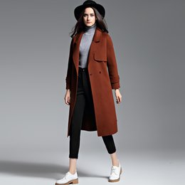 Wholesale Blue Cashmere Coat - 2018 best selling caramel womens cashmere coats long winter jackets high quality long sleeves winter womens outweaer coats