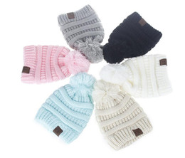 Wholesale Kids Fedora Hats Wholesale - Winter Knitted Woolen CC Trendy thick Warm Outdoors Hat 2017 new kids Beanie Label Fedora Luxury Cable Slouchy Skull caps