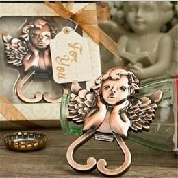 Wholesale Antique Baby Bottles - Baby Shower Favors Antique Copper Angel Wine Bottle Opener Wedding&Bridal Shower Favors