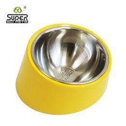 Wholesale Flat Steel Water - Pet Supplies Stainless Steel Bowl Travel Dog Cat Food Water Bowls Feeding Dish Flat Face short legs neck guard pet bowl Free shipping.