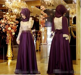 Wholesale Embroidery Muslim Dress Abaya Kaftan - 2016 Muslim Evening Dresses A-line Long Sleeves Purple Embroidery Hijab Islamic Dubai Abaya Kaftan Long Evening Gown Prom Dress