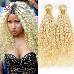 Wholesale Kinky Blonde Hair Extensions - Russian 100g human hair weave 4 bundles Brazilian Peruvian Malaysian Indian Virgin 613 blonde kinky curly hair extensions