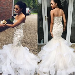 Wholesale Bamboo Tulle - African Style White Sexy Long Evening Dresses Mermaid Sweetheart Beaded Formal Dress Plus Size Prom Party Gowns Tiered Skirt Custom Made