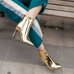 Wholesale Low Heel Sexy Shoe - Fashion spring autumn winter ankle boots sexy high heels thin heels plus size 40-48 gold silver shoes for woman pointed toe