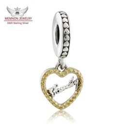 Wholesale Sterling Silver Hang Charms - Memnon Jewelry 925 Sterling Silver Loving Family Hanging Charm With 14K Solid gold Heart Pendant Beads For Women Bracelets DIY Jewelry GD099