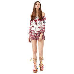 Wholesale Ladies Floral Overalls - Summer Floral Playsuit Women 2017 Slash neck Off the Shoulder Casual Overalls Ladies Bodysuits Rompers Beach Jumpsuit One Piece