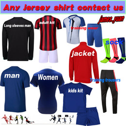 Wholesale Black White Kids Clothing - Accept any custom football jersey shirts Adult man child woman woman Ladies Tpp soccer jerseys Kids training clothes Best quality jacket