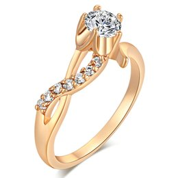 Wholesale 18k Wedding Yellow Diamond Ring - New Hot Gifts 18K Yellow Gold Plated Round Simulated Diamond Flower Wedding Eternity Rings Bands Jewelry for Women JR0351