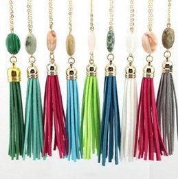 Wholesale Long Diamond Necklaces - Natrual Stone Tassel Druzy Boho Stone Pendants Necklace Long Necklace For Women Girl Jewelry