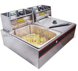 Wholesale Restaurant Machines - Commercial Dual Tank 12L Electric Counter Deep fryer Fast Food Restaurant 5000W Frying Machine free shipping MYY