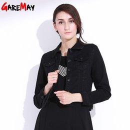Wholesale Denim Outwear Women - Denim Jacket Female Vintage Short Coat Black Casaco Preto Jaqueta Jeans Feminina Slim Top Outwear Ladies Cardigan Cotton GAREMAY