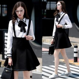 Wholesale School Uniform Dresses Bows - Spring women overall bow shirt high waisted suspender skirt white shirt braces skirt set school uniform