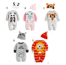Wholesale Baby Clothes Model - New Baby Clothes Romper+Hat Two Piece Set Animal Design 5 Model Cotton Long Sleeve Baby Boy Girls Baby Clothes