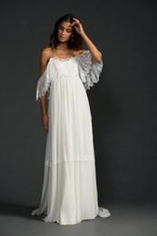 Wholesale Chiffon Beach Dresses Online - Vintage Sexy Spaghetti Straps Chiffon Lace Beach Wedding Dresses Backless Court Train Formal Wedding Gowns Bridal Dress Online Sale 2017