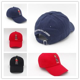 Wholesale Embroidered Baseball Caps Cheap - Newest Arrival Cheap outdoor leisure cartoon bear the new polo black baseball cap hockey gorra retro fashion hat