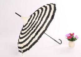 Wholesale Wholesale Black Lace Parasol - 10pcs lot Princess Stripe Frill Pagoda Umbrella,ivory with black frill deocration Wedding Umbrella Free Shipping