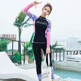 Wholesale Girl Surfing Suit - Womens Wetsuits Long Sleeve Patchwork Sexy Diving Suit Women Slim Lady Two Pieces Swimsuits Girls Bodysuit Surf Rash Guard 6601