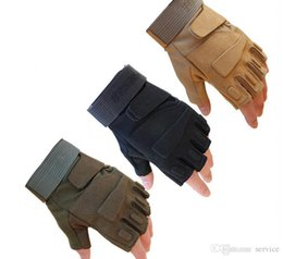 Wholesale Airsoft Fingerless Gloves - 3Colors Outdoor Sports Motorcycle Goalie Tactical Gloves Fingerless Airsoft Combat Mittens Sprots Gloves 2017 Hot Sale