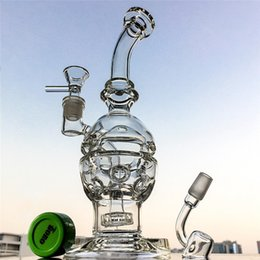 Wholesale Free Cheese - Fab egg shape Faberge Egg Glass Bongs showerhead perc swiss cheese perc Water Bongs recycler oil rigs With Banger Bowl Gift MFE01