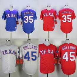 Wholesale New Holland Stopping - New Arrival!!2017 Mens Texas Rangers 35 Cole Hamels 45 Derek Holland White Grey Blue Drop Shipping Size S-4XL