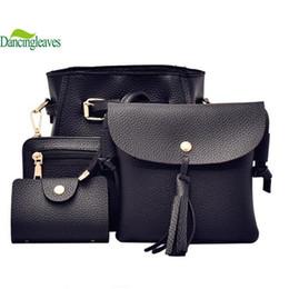 Wholesale Casual Messenger Bags For Women - Wholesale- 4 bags set women composite bag lady shoulder bags pu leather women messenger bags crossbody bags for girls DL0559dd