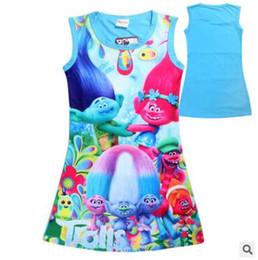 Wholesale Short Sleeveless Print Dress - 2017 Summer Girls Dresses Cartoon Trolls Big Girl Dress Outwear Cotton Sleeveless Nightwear Kids Clothing Baby Girls Clothes Girls Clothing
