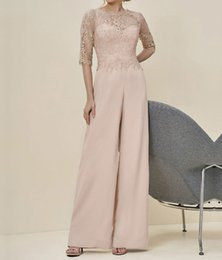 Wholesale Fantastic Pictures - Fantastic 2017 Pink Lace Mother of the Bride Pant Suits With Half Sleeves Jewel Neck Zipper Back Cheap Formal Dresses Evening Gowns