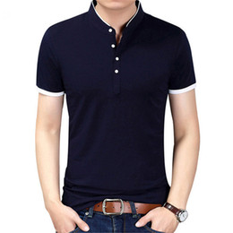 Wholesale Mandarin Slim Fit - 2017 Summer New Fashion Brand Clothing Tshirt Men Solid Color Slim Fit Short Sleeve T Shirt Men Mandarin Collar Casual T-Shirts XZ-003