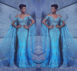 rhinestone evening gown cap sleeves Promo Codes - Sexy Glitz Elegant Blue Formal Evening Dresses Cap Sleeves Off Shoulder Backless Beaded Rhinestones Floor Length Prom Party Gowns