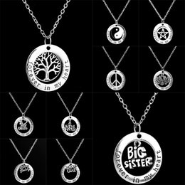 Wholesale Necklaces Big Hearts Pendant - Forever In My Heart Ring Necklaces Family Member Life of Tree Mom Big Little Sister Peace Best Friend Pendant for Women Jewelry 161757