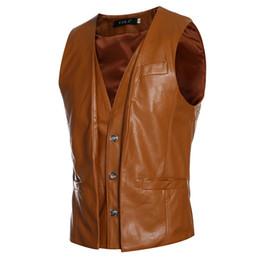 Wholesale Sleeveless Leather Jacket Mens - Wholesale- Men's PU Vest Black&dark Brown&light Brown Retro Design False Two Mens Slim Leather Waistcoat Leather Suit Sleeveless Jacket