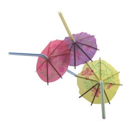 Wholesale Drink Umbrellas - 90ct degrade paper luau cocktail umbrella plastic straws for summer drinks