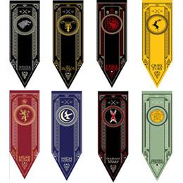Bandiera satinata online-New SATIN House Stark Banner - Game of Thrones Wolf Torneo Outdoor Banner Flag 46 * 150 cm Bandiera da baseball