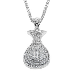 Wholesale White Gold Figaro Necklace - Hip Hop Antique Silver Gold Plated Money Bag Pendant For Men Women Bling Crystal Dollar Charm Necklace Long Cuban Chain Jewelry
