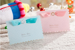 Wholesale Wedding Invitation Sky Blue - Lovely Pink Blue Wedding Invitations Cards Ribbon Cute Birthday Party Invitations Cards Free Customized Printable with Envelope