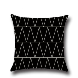 Patrón de almohada triángulo online-Minimal Art Geometry Design Pattern Funda de almohada cuadrada para sofá Hogar Decorativo Negro Diamante blanco Triángulo de puntos (7)