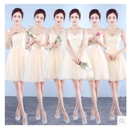 Wholesale Short Sleeves Chiffon Wholesale - Fast ship V-Neck A-Line Cap Sleeve Chiffon Lace Champagne Grey Bridesmaid Dresses Cheap In Stock Evening Dresses