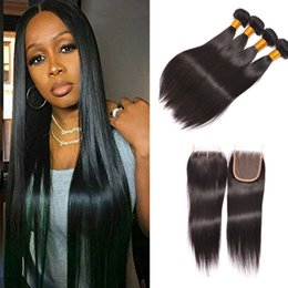 Wholesale Straight Remy Mix Length - Brazilian Body Wave Straight Virgin Hair Weaves 3 Bundles with Lace Closures 8A Grade Unprocessed Malaysian Peruvian Indian Remy Human Hair