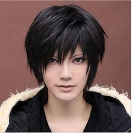 "Wholesale Sexy Girls Short Hair - ePacket free shipping Anime Handsome Boy Short Hair Wig 18"" Sexy Men's Girls Hair Cosplay Black Wigs"