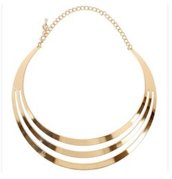 Wholesale Wide Necklace Choker Collar - Punk Shine Metallic Curved Mirror Wide Hollow Choker Necklace Gold Silver Collar Mottle Necklace Gothic Metal Hot Sale Alloy Charm